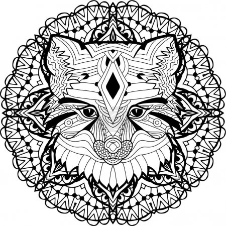 Painted Fox on a background of circular pattern. Coloring page
