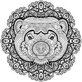 Coloring page for adults Stern Wolverine on a background of a circular mandala pattern