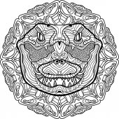 Totem coloring page for adults The head of a crocodile Line art