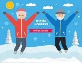 Winter holiday elderly couple Grandparents jump with delight around snowy valley with trees Sunny winter day Flat style illustration