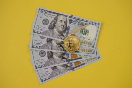 Golden bitcoin and money