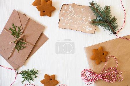 Christmas composition. Xmas cookies, Gingerbread man, ribbon, ca