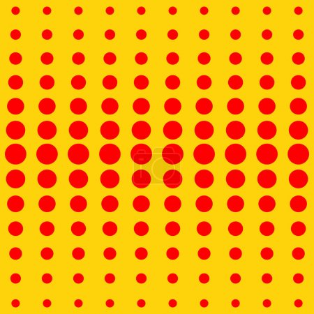 Vector halftone dots. Red dots on yellow background.
