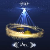 Isra and Miraj holy nights in Islamic religion Vector Background