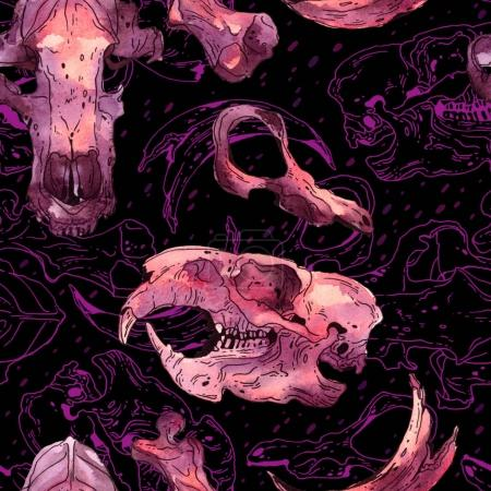 Seamless watercolor pattern with skulls