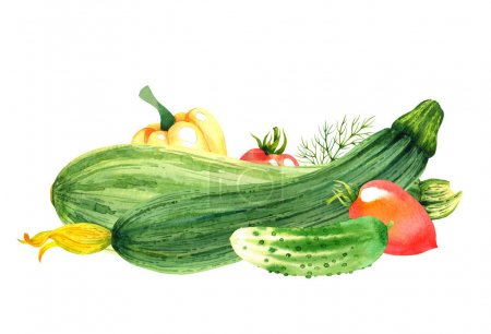 Isolated watercolor vegetables