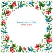 Watercolor vector frame with leaves and berries