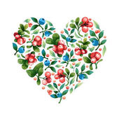 heart shape with leaves and berries