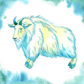Snow goat on watercolor background vector illustration