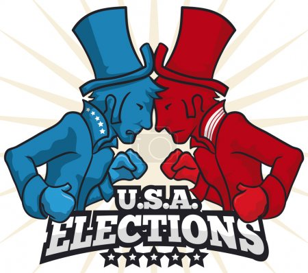 Party Contenders with Hats and Boxing Gloves in American Elections, Vector Illustration