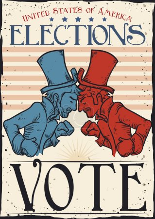 Retro Poster with American Traditional Party Contenders, Vector Illustration