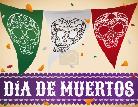 Poster with festive buntings like Mexican flag wit...