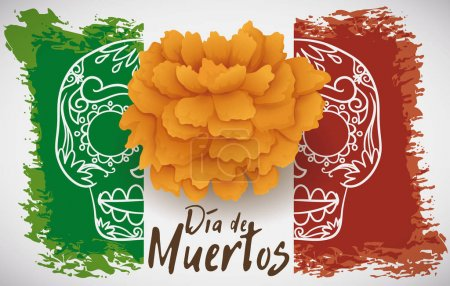 """Illustration for Banner with festive Mexican flag in brushstrokes for """"Dia de Muertos"""" (Spanish for """"Day of the Dead"""") celebration decorated with a marigold flower and a skull print. - Royalty Free Image"""