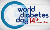 Blue Circle Globe and Reminder Date of World Diabetes Day Vector Illustration