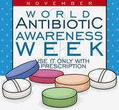 Medical Note with Some Antibiotic Pills for Antibiotic Awareness Week Vector Illustration