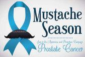 Mustached Blue Ribbon for Prostate Cancer Awareness Season Vector Illustration