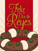 Delicious Kings' Cake for Epiphany Holiday in Spanish Vector Illustration