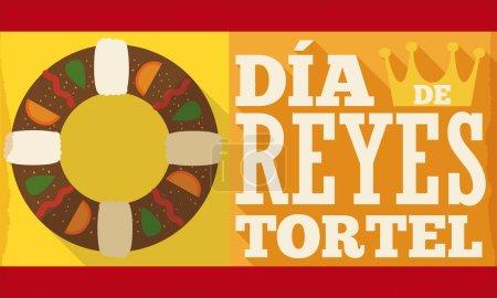"""Illustration pour Bannière avec un délicieux design tortell et couronne dans un style plat avec un effet d'ombre longue pour les vacances espagnoles """"Dia de Reyes"""" ou Epiphany . - image libre de droit"""