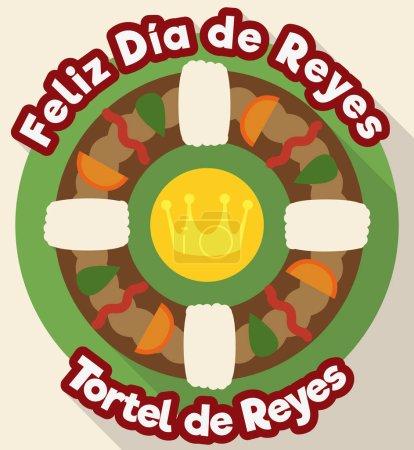 """Illustration pour Affiche avec une délicieuse vue tortell espagnol frais cuit prêt pour la célébration """"Dia de Reyes"""" ou Epiphany dans un style plat . - image libre de droit"""