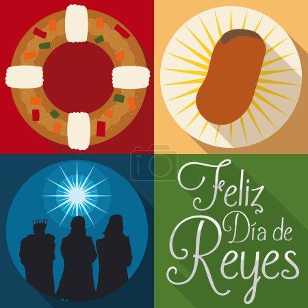 """Illustration pour Affiche dans un style plat avec des éléments traditionnels et des personnages pour la célébration espagnole """"Dia de Reyes"""" ou Epiphany : personnages mages, tortell et fève de fava . - image libre de droit"""
