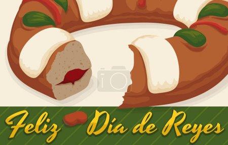"""Illustration pour Bannière avec délicieux tortell (ou en espagnol """"Roscon de Reyes"""") avec une surprise de fève de fava prête à être mangée dans la célébration traditionnelle de """"Dia de Reyes"""" ou de l'Épiphanie . - image libre de droit"""
