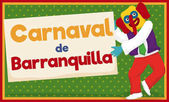 Marimonda Dancing and Holding Sign for Barranquilla's Carnival Vector Illustration