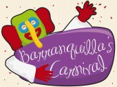 Happy Marimonda Character with Confetti and Sign Celebrating Barranquilla's Carnival Vector Illustration