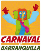 Happy Colorful Marimonda Celebrating in Barranquilla's Carnival Vector Illustration
