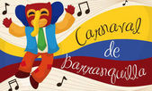 Joyous Marimonda Listening Traditional Music in Barranquilla's Carnival Vector Illustration