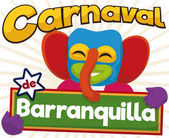 Happy Marimonda Holding a Sign for Barranquilla's Carnival Celebration Vector Illustration