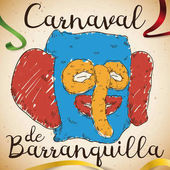 Colorful Hand Drawn Marimonda Design and Ribbons for Barranquilla's Carnival Vector Illustration