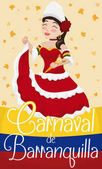 Poster with smiling beautiful Barranquilla's Carnival (written in Spanish) Queen showing her traditional dress in the event and flower rain