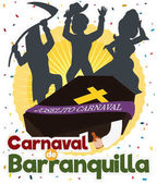 Traditional Joselito's Burial with Festive People Silhouettes for Barranquilla's Carnival Vector Illustration