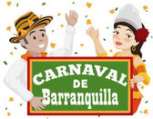 Momo King and Barranquilla's Carnival Queen Celebrating Battle of Flowers Vector Illustration