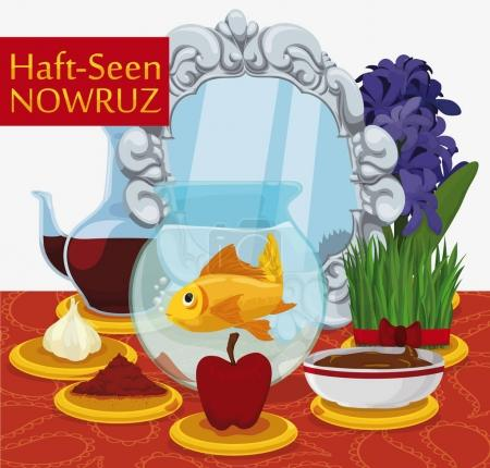 Traditional Haft-Seen Table Ready for Nowruz Celebration, Vector Illustration