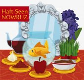 Traditional Haft-Seen Table Ready for Nowruz Celebration Vector Illustration