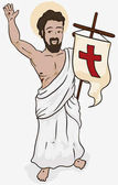 Resurrected Jesus Holding a Banner in Holy Sunday Vector Illustration