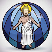 Jesus Christ Figure in Stained Glass Vector Illustration