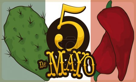 Illustration for Banner with representative elements of Mexican cuisine: nopal and chili pepper for Cinco de Mayo (written in Spanish) celebration. - Royalty Free Image