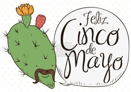 Illustration for Poster with cute nopal bloomed with charro face remembering at you the traditional celebration of Cinco de Mayo (written in Spanish) in Mexico. - Royalty Free Image
