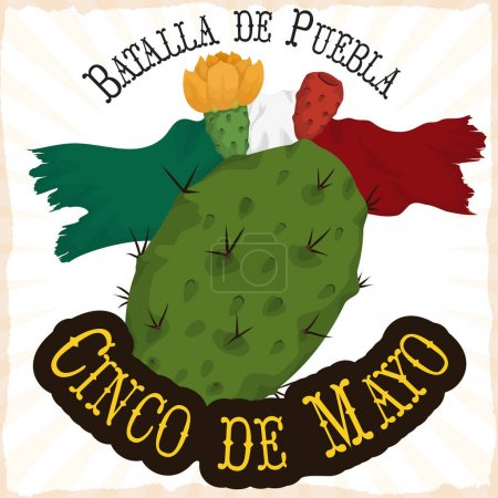 Illustration for Poster with traditional ragged Mexican flag and nopal bloomed and with tuna fruit, to commemorate Battle of Puebla in Cinco de Mayo (written in Spanish) event. - Royalty Free Image