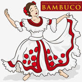 Beautiful Woman Wearing a Traditional Colombian Dress to Dance Bambuco, Vector Illustration