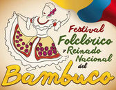Woman Dancing Bambuco, Traditional Colombian Dance Display for Festival, Vector Illustration