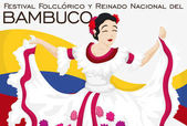 Beautiful Folkloric Queen Dancing in Traditional Colombian Bambuco Festival Vector Illustration