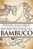 Bambuco's Woman Dancer in Hand Drawn for Colombian Folkloric Festival, Vector Illustration