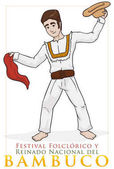 Colombian Dancer Performing Bambuco Dance with Hat and Kerchief, Vector Illustration