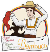 Traditional Colombian Couple Dancing Bambuco with Greeting Label, Vector Illustration