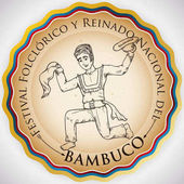 Round Button for Colombian Folkloric Festival with Bambuco Dancer, Vector Illustration