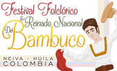 Young Man with Kerchief and Hat for Colombian Bambuco Festival, Vector Illustration