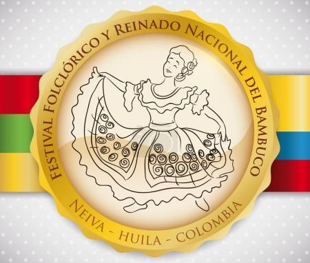Button with Beautiful Woman Dancing Bambuco for Colombian Folkloric Festival, Vector Illustration